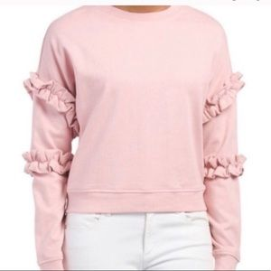 For The Republic Pink Ruffle Sleeve Sweatshirt M